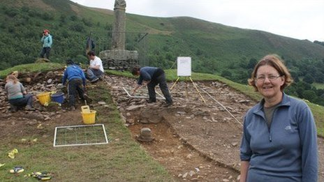 Professor Nancy Edwards from Bangor University at the site of the Pillar of Eliseg near Llangollen in 2011