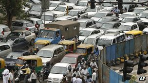 Traffic jam in Delhi, India (31 July 2012)