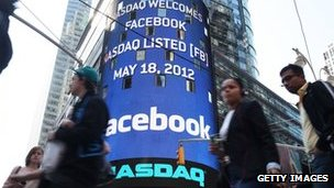 Facebook notice on Nasdaq display