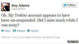 Guy Adams Twitter screenshot