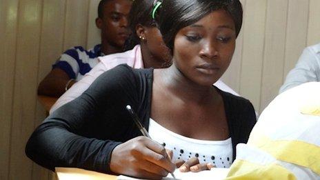 Blessing Ogunga at her desk