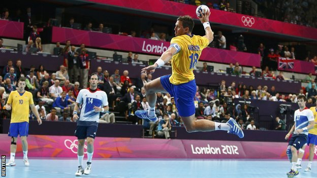 Sweden in action against Team GB