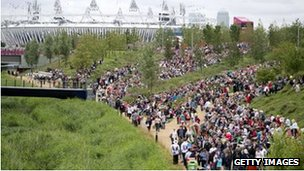 Crowds in Olympic Park