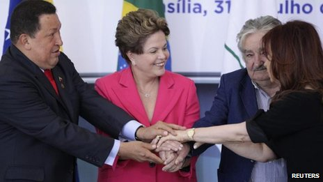 (L-R) Hugo Chavez, Dilma Rousseff, Jose Mujica and Cristina Fernandez de Kirchner, 31 July in Brasilia