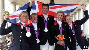 GB's equestrian team with their silver medals