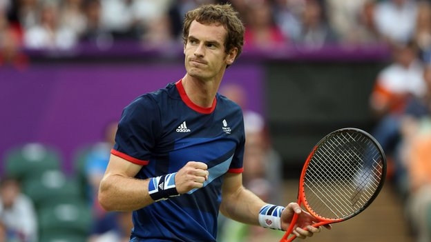 Andy Murray celebrates at the Olympics.