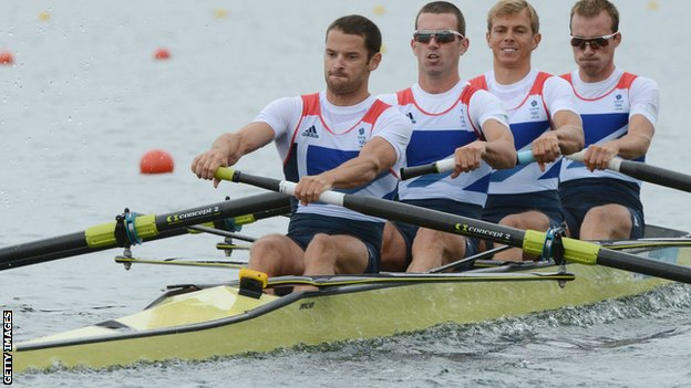 R-L Great Britain's Peter Chambers, Rob Williams, Richard Chambers and Chris Bartley compete in the men's lightweight four semifinals of the rowing event during the London 2012 Olympic Games,
