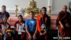 Most Ven Bogoda Seelawimala Thera with the Sri Lankan Olympic team inside the shrine