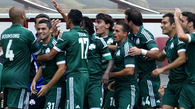 Panathinaikos celebrate after Lazaros Christodoulopoulos gives the Greeks a 13th-minute lead