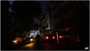 Dark street in Calcutta, India (31 July 2012)