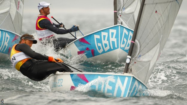 Great Britain's Ben Ainslie (top) chases Denmark's Jonas Hogh-Christensen in the Finn class in Weymouth