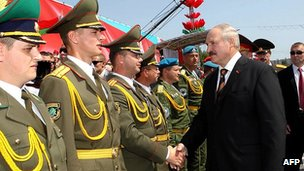 Belarus President Alexander Lukashenko with military chiefs, 3 July 12