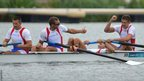 Goran Jagar, Miljan Vukovic, Radoje Deric and Milos Vasic celebrate after winning the men's four repechage