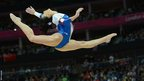 Romania's gymnast Catalina Ponor performs on the beam