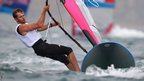 Nick Dempsey of Great Britain competes in the men's RS:X sailing