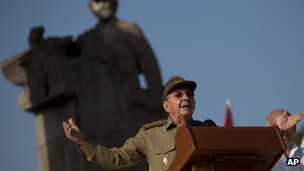 President Raul Castro addressing the crowd at the Revolution Day ceremony on 26 July