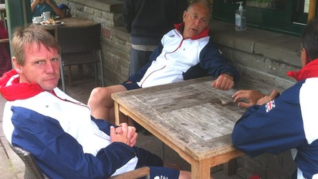 Team GB coach Stuart Pearce (left) relaxes in Cardiff's Bute Park ahead of Wednesday night's match