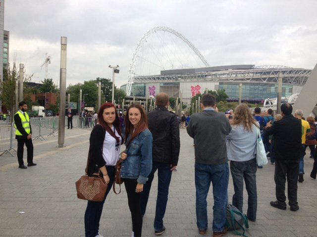 Alice and Sian outside Wembley Stadium