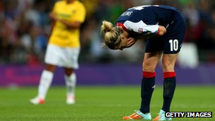 Kelly Smith with her head in her hands after her penalty was saved