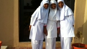 Trainee midwives Sharifa, Safar and Safya