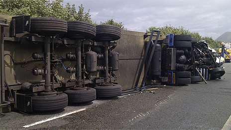 Overturned lorry Pic: Jacob Williams