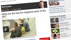 Mark's blog on 24 July on the top five happiest parts of the UK