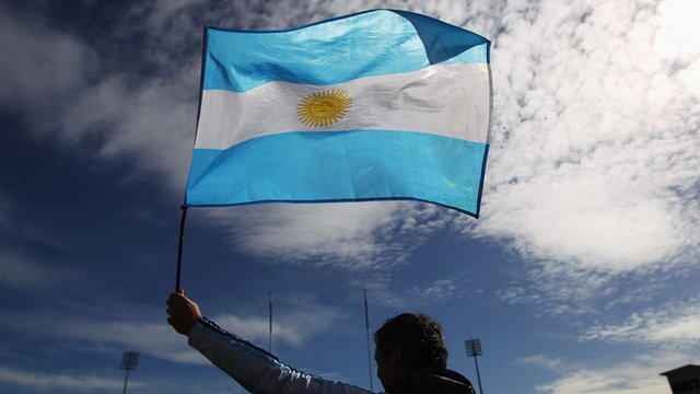 Rugby fan waves Argentina flag