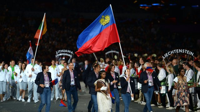 Liechtenstein flag at London 2012 opening ceremony
