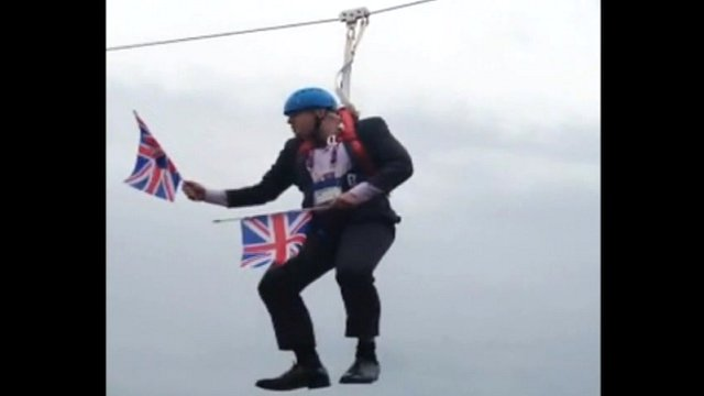 Boris Johnson stuck on a zip wire. Video: Laura Mullane