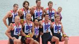 GB men's eight celebrating Olympic bronze medal at London 2012