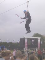 Boris Johnson stuck on zip wire