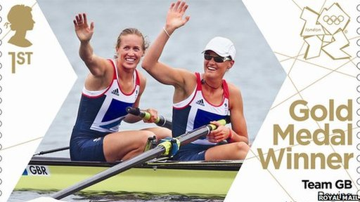 Helen Glover (left) and Heather Stanning. Stamp. Pic: Royal Mail.