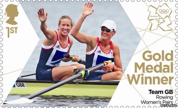 Rowers Helen Glover and Heather Stanning feature on the stamp