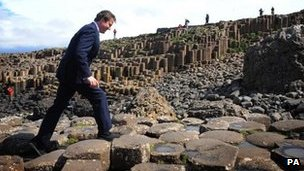 David Cameron at Giant's Causeway