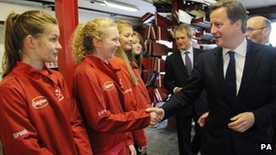 David Cameron met young rowers at Bann Rowing Club