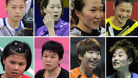 South Korea's Kim Ha Na, Ha Jung-Eun, Kim Min-Jung, Jung Kyung-Eun. (Bottom Row L-R) Indonesia's Greysia Polii, Meiliana Jauhari and China's Wang Xiaoli and Yu Yang.