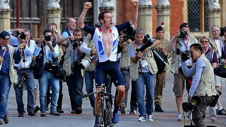 Great Britain's gold winner Bradley Wiggins