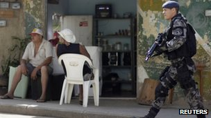 Brazilian police in the Alemao slum in Rio