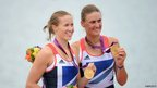 Helen Glover and Heather Stanning with their gold medals