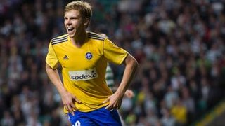 Rasmus Schuller celebrates after scoring for HJK Helsinki against Celtic