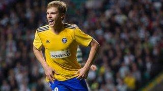 Rasmus Schuller celebrates after scoring for HJK Helsinki against Celtic