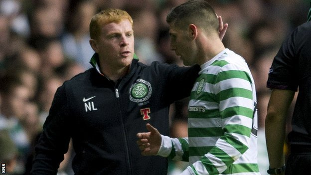 Celtic manager Neil Lennon and striker Gary Hooper