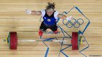 Maryna Shkermankova of Belarus competes in the Women's 69kg Weightlifting on Day five of the London 2012 Olympic Games in London, the UK