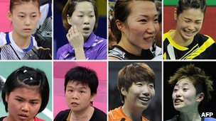 A combination of pictures on 1 August, 2012, shows eight badminton players disqualified Wednesday in a match-fixing scandal at the Olympic badminton tournament in London. (Top Row L-R) South Korea's Kim Ha Na, Ha Jung-Eun, Kim Min-Jung, Jung Kyung-Eun, (Bottom Row L-R) Indonesia's Greysia Polii, Meiliana Jauhari and China's Wang Xiaoli and Yu Yang