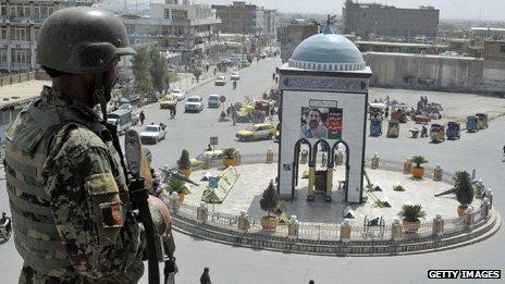 Soldier overlooking  Kandahar roundabout