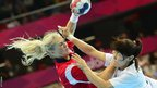 Norway's Linn Jorum Sulland vies with South Korea's centreback Jihae Jung