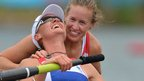 Heather Stanning and Helen Glover celebrate after winning the women's pair final