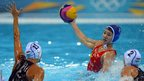 China's Huanhuan Ma is challenged by Hungary's Dora Csabai and Dora Czigany