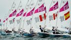 Competitors start in the laser radial sailing race six