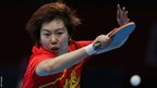 Li Xiaoxia competes against fellow Chinese Olympian Ding Ning in the women's singles table tennis gold medal match